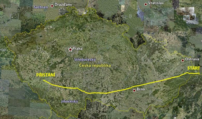 přelet ČR mapa